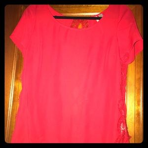 Lauren Conrad red lace short sleeve top, size M